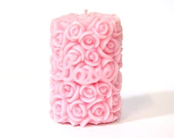 Pink Rose Candle Pair - Scented with garden roses.