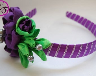 Kanzashi Headband , Kanzashi purple flower