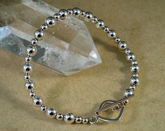 Sterling Bracelet, Sterling Beaded Bracelet, Sterling silver Bracelet, 6mm Sterling Bead Bracelet, Sterling Jewelry, 4mm Sterling beads
