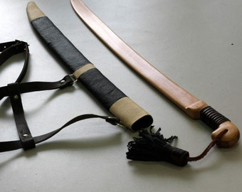 Toy wooden cossack saber with leather sheath