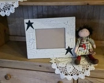 primitive black star country picture frame