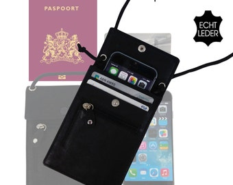 Leather neckwallet for travel or festival. Fits in passport, the Newest Iphone 6 . Made from high quality leather