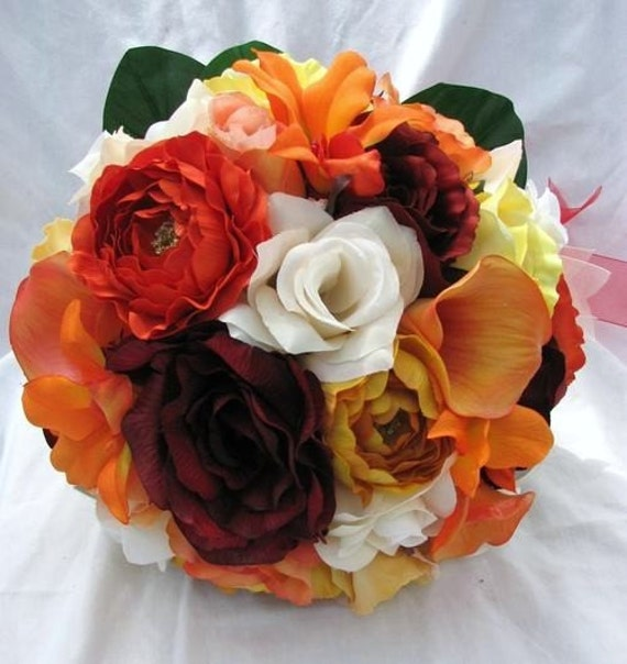 Round silk Brides bouquet  , orange, burgundy, red, yellow roses , orchids and ranunculus