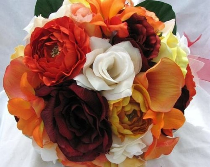 Fall wedding bridal bouquet round nosegay style made of silk this this colors , orange, burgundy, red, yellow roses , orchids and ranunculus