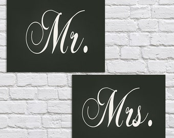 Mr and Mrs signs -instant download-PDF file