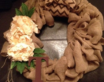 Burlap wreath with silk flowers and initial of your choice