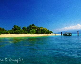 Haiti Art Print, Ocean Art Print, Island of Haiti, Haiti Coast, Turquoise Water, Caribbean Ocean Beach, Boat Dock, Fine Art Photography