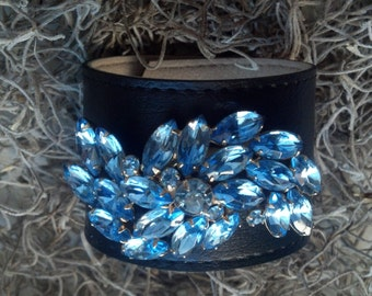 Baby Blue Leather Cuff