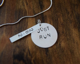 Just Run  Necklace with 13.1 and/or 26.2 Charm