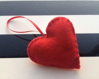 Red felt handmade heart