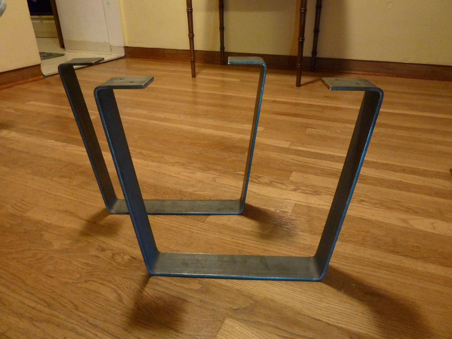 Metal coffee table legs 2 5 in steel flat bar trapezoid for What to use for table legs