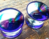 """Oil Slick PYREX GLASS PLUGS Reflective Gauges Rainbow Front Earrings Double Flare Plugs 12g (2mm)--1-3/16"""" (30mm)"""