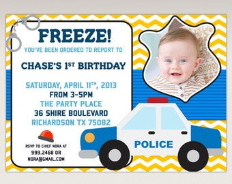 Police Birthday Party printable Photo invitation - Cops and Robbers Birthday Party Invitations #471