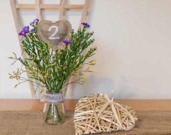 Burlap Heart Shaped Table Numbers - Vintage Handmade Wedding Decoration Hessian / Burlap Shabby Chic Rustic Table Numbers