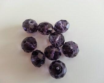 form ball a facet glass beads purple