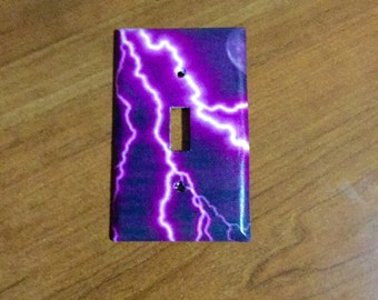 Lightning switch cover, purple lightning, lightning strikes, storm, kids room, home decor, purple light switch, decor, girls room,
