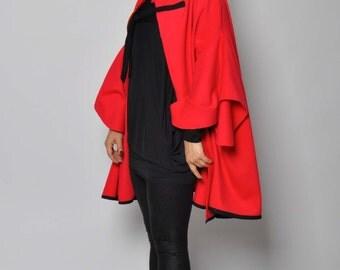 Red cashmere blend maxi cape/Red oversize cape/Woman wool jacket/Woman  cape/Red short Cloak/Soft wool cape cloak jacket/Luxury cape/S1423