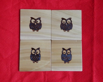 Hand made Coaster Pyrography, Wood burn Owl set of 4