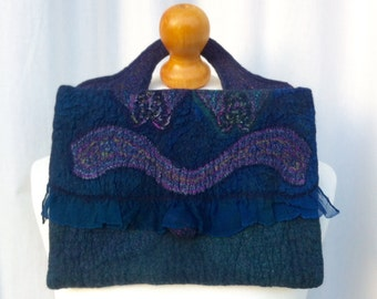 Hand Felted Merino Wool And Silk Clutch Bag Blue Green Mix