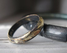 Rustic Gold and Oxidized Silver Mens Wedding Band 4mm Width Artisan Mens Wedding Ring or Commitment Ring