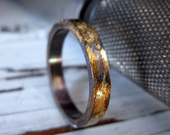 Mens Artisan Wedding Band Oxidized Sterling Silver with Yellow Gold 4mm Width Distressed Texture Wedding Ring or Commitment Ring