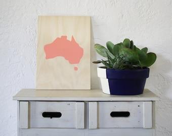 Salmon Pink Australia Acrylic Screen Print on Plywood