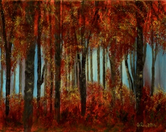 The Red Forest in Autumn. Landscape .Original Painting Oil on Canvas.  Handmade by Silvia Dimova