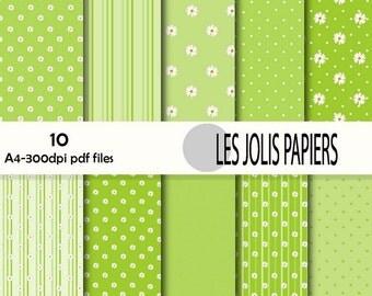 pack of digital papers green-yellow tones, flower motifs, polka dots, stripes, download, PDF,  300 DPI + JPEG file zip