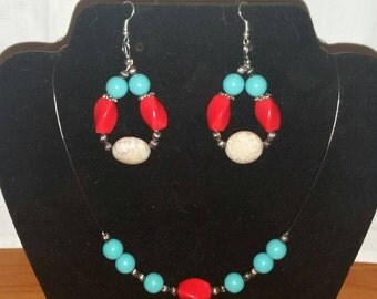 """22"""" Beautiful Coral / Turquoise Necklace Set"""