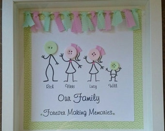 Handmade personalised 3D button frame, family tree, family frame, button people