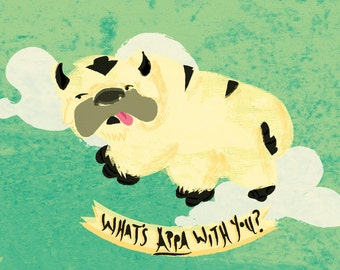 Original 'What's Appa With You?' Avatar The Last Airbender Print Postcard