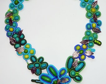 Handmade Soutache necklace - Turquoise Meadow - blue, green , silver