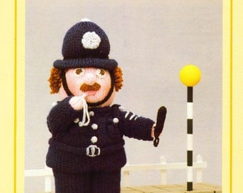 PDF Vintage Woolly Wotnot Knitting Pattern – The Policeman, Doll, Toy - PDF instant download