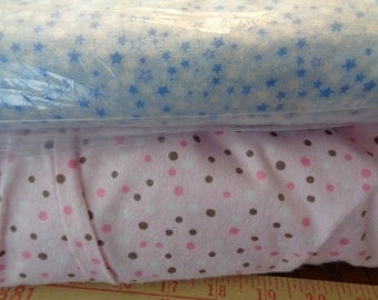 Full bolt of pink/brown or blue/stars flannel