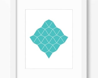 Teal print, teal wall art, teal decor, geometric print, abstract art print, turquoise print, turquoise decor, instant download, 18x24, 11x14
