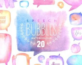 Speech Bubbles Watercolour Light: 20 files Digital Papers. Hand painted, watercolour clipart, diy elements, invite, light color bubbles