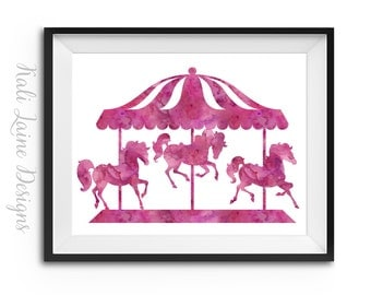 Pink Carousel  - DIGITAL DOWNLOAD Print, 8x10, Nursery Print, Girls Room, Kids Digital Download, Kids Room decor, Pink Carousel Watercolor