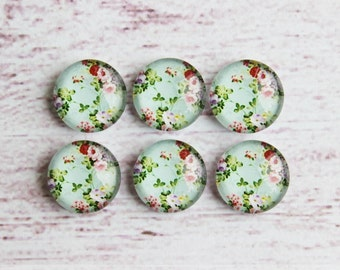 10pcs 12mm Handmade Photo Glass Cabochon Turquoise green white flowers Vintage Floral --7