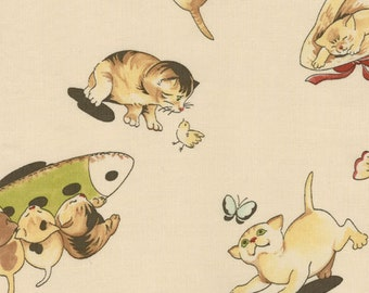 Lil' Rascals by Chloe's Closet For Moda  #32492-15  Playful Kittens on Cream Cotton Fabric