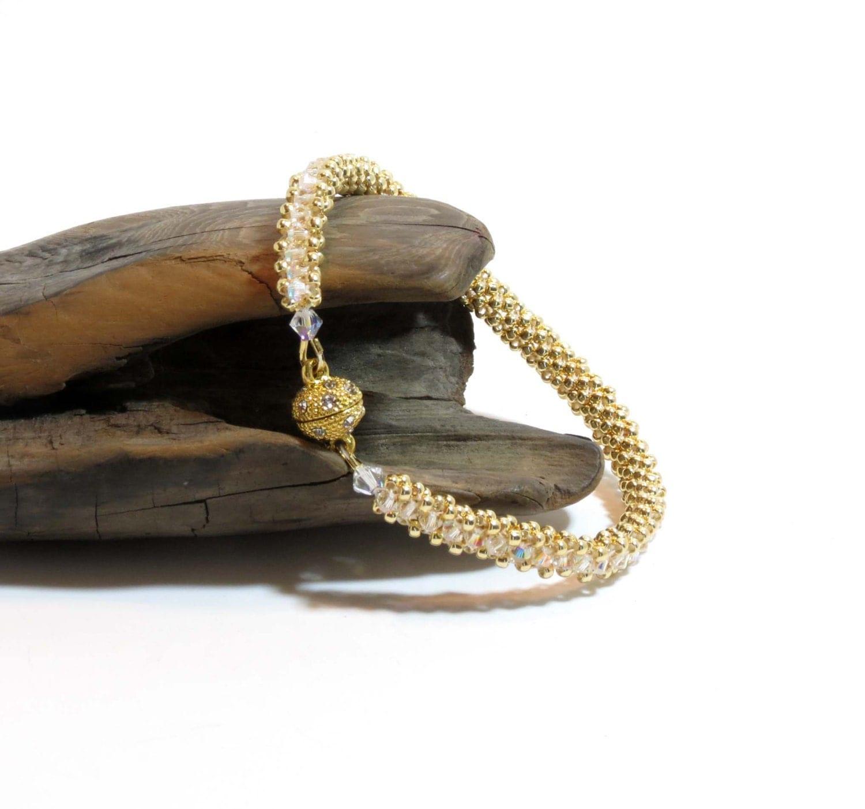swarovski crystal tennis bracelet bangle right angle weave. Black Bedroom Furniture Sets. Home Design Ideas