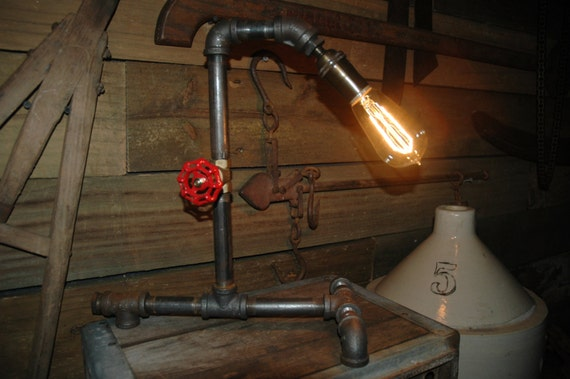 Sale industrial metal pipe lamp with gas by woodmetalcreations for Gas pipe lamp
