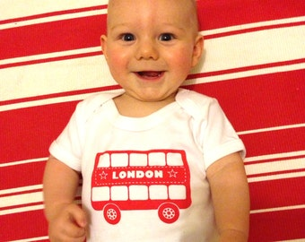 London Bus Design Baby Onesie - Made in the UK - New Baby Gift, Baby Shower Gift - British Baby Present - London Baby Grow