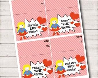 DIY...I think you're SUPER Valentine - Printable Bag Topper - Val002Superwoman