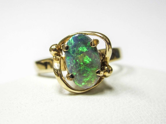 yellow gold 14k opal ring by upyouralleygifts on etsy