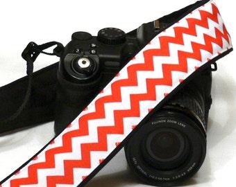 Chevron Camera Strap. DSLR SLR Camera Strap. White and Red Camera Strap. Camera Accessories