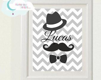 DIGITAL Moustache, Hat, Bow Tie, Personalised Name Print 8x10 inchs, Chevron, Zig Zag, Black, Nursery, Baby Wall Hanging, Childrens, Kids