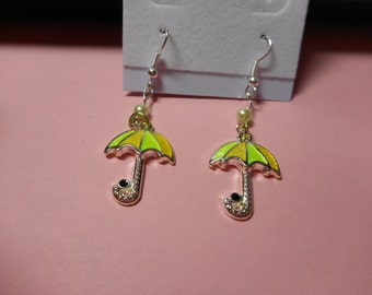 Yellow and Lime Green Umbrella Earrings