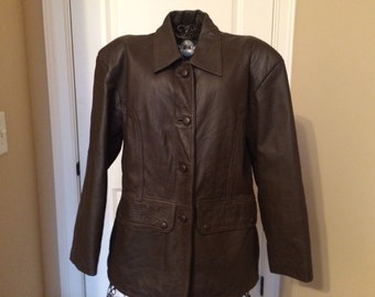 Vintage Chocolate Brown Leather Jacket, size L