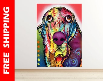 Basset Hound wall decal vinyl, pop art Basset dog wall sticker, abstract dog modern art poster dog wall decor kids gift by dean russo dr091
