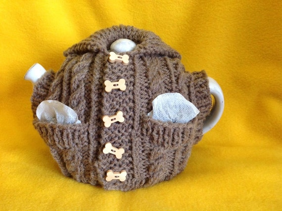 Hand Knitted Tea Cosy Patterns : Hand Knitted Aran Waistcoat Tea Cosy with Front by DroppedStitchUK
